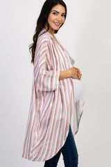 Mauve Striped Cuffed Dolman Sleeve Maternity Cover Up