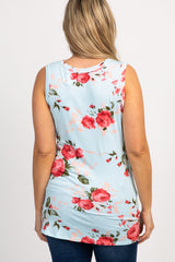 Mint Floral Knotted Hem Maternity Tank Top