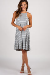 Heather Grey Striped Halter Neck Swing Dress