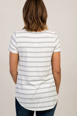 White Striped Short Sleeve Top