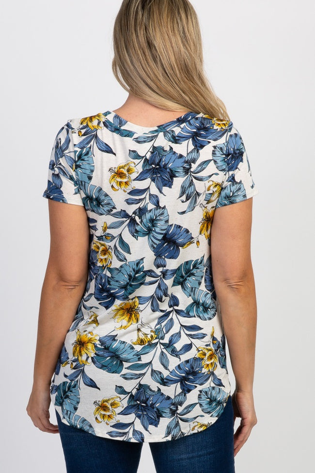 Blue Floral Short Sleeve Maternity Top