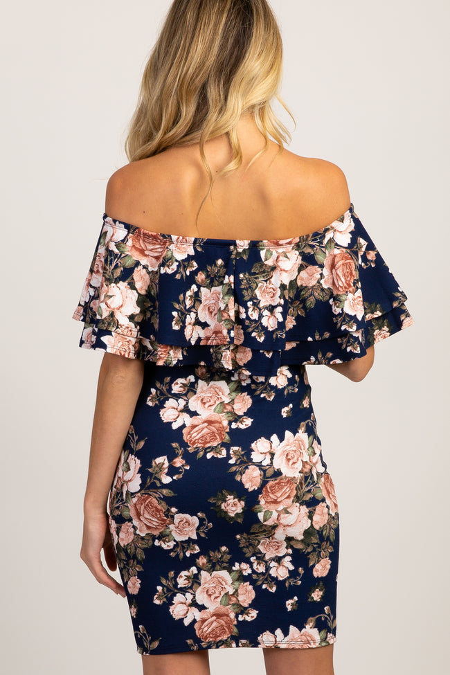 Navy Rose Floral Layered Ruffle Maternity Dress