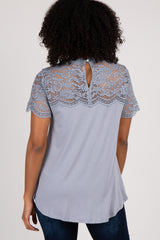 Grey Scalloped Lace Accent Mock Neck Top