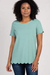Mint Solid Scalloped Trim Maternity Top