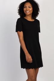 Black Short Sleeve Scalloped Trim Dress