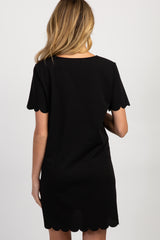Black Short Sleeve Scalloped Trim Maternity Dress