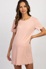 Light Pink Short Sleeve Scalloped Trim Maternity Dress