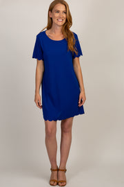 Royal Blue Short Sleeve Scalloped Trim Dress