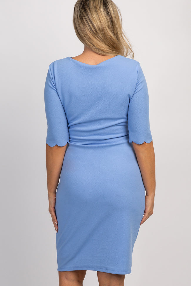 PinkBlush Tall Blue Solid Scalloped Trim Fitted Maternity Dress