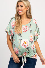 Mint Green Floral Ruffle Sleeves Knot Tie Maternity Top