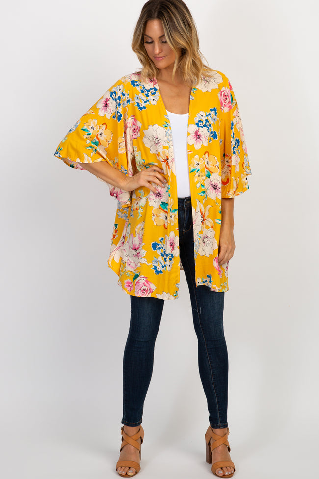 Yellow Floral Bell Sleeve Kimono