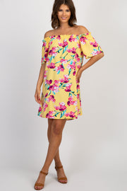 Yellow Floral Ruffle Off Shoulder Dress