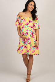 Yellow Floral Ruffle Off Shoulder Maternity Dress