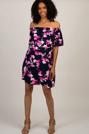 Navy Floral Ruffle Off Shoulder Maternity Dress