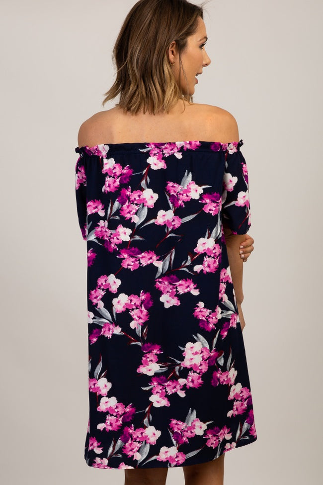 Navy Floral Ruffle Off Shoulder Dress