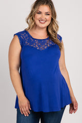 Royal Blue Solid Lace Accent Plus Maternity Top