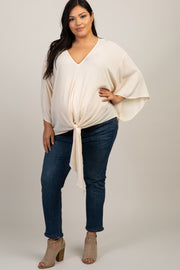 Cream Solid Tie Front Dolman Sleeve Plus Maternity Top