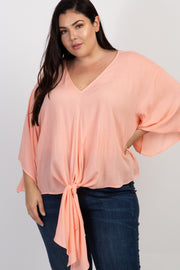 Peach Solid Tie Front Dolman Sleeve Plus Top