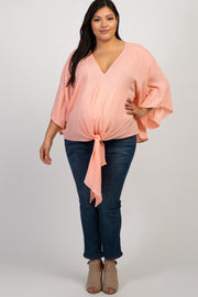 Peach Solid Tie Front Dolman Sleeve Plus Maternity Top
