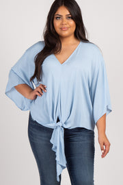 Light Blue Solid Tie Front Dolman Sleeve Plus Top