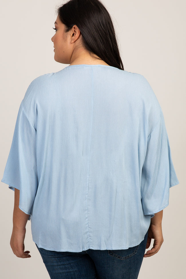 Light Blue Solid Tie Front Dolman Sleeve Plus Maternity Top