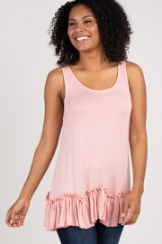Light Pink Scalloped Ruffle Trim Tank Top