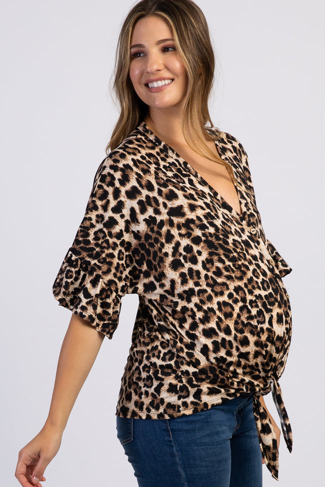 Brown Leopard Print Button Tie Maternity Top