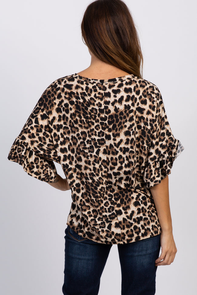 Brown Leopard Print Button Tie Top