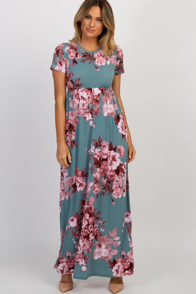 Mint Floral Short Sleeve Maxi Dress
