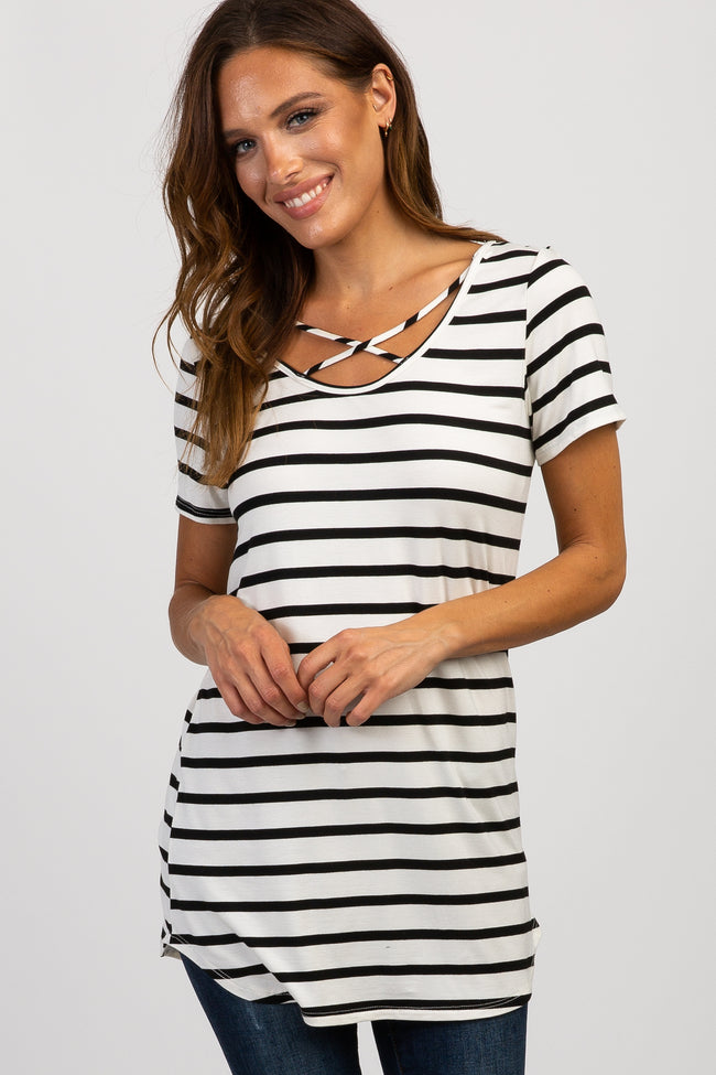 Ivory Striped Crisscross Front Top