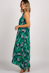 Navy Tropical Halter Neck Maxi Dress