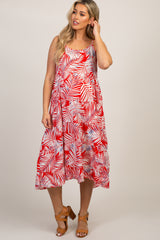 Red Tropical Sleeveless Maternity Dress