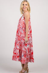 Red Tropical Sleeveless Dress