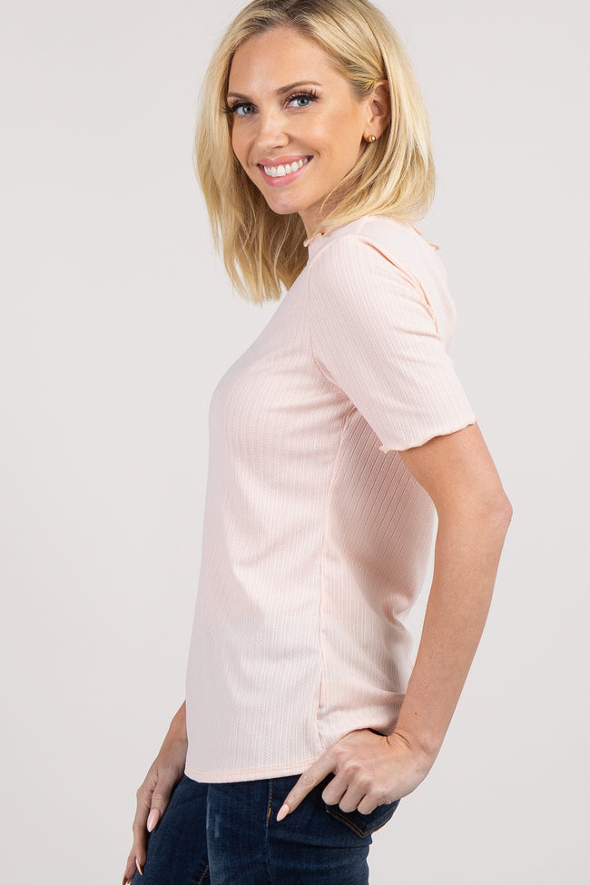 Light Pink Solid Ruffle Short Sleeve Top