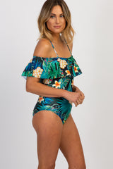 Green Tropical Print Off Shoulder Ruffle One-Piece Swimsuit