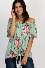 Mint Green Floral Off Shoulder Tie Hem Maternity Top