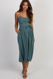 Green Button Front Caged Back Maternity Midi Dress