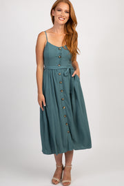Green Button Front Caged Back Midi Dress