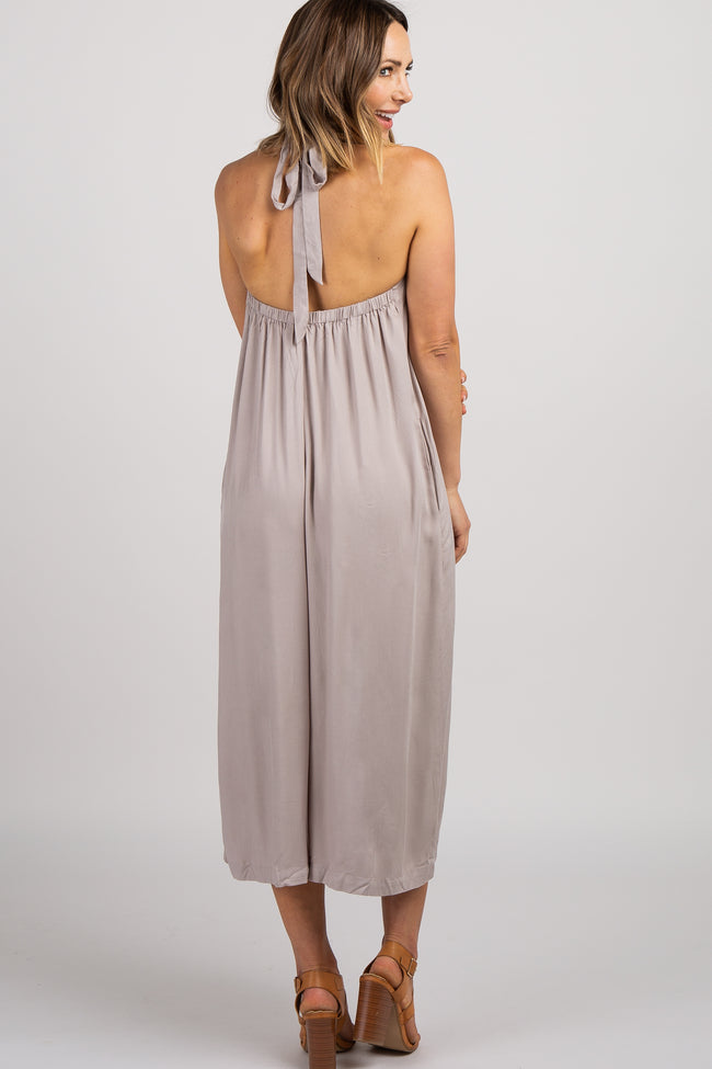 Taupe Halter Neck Wide Leg Jumpsuit