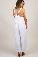 White Tie Back Wide Leg Jumpsuit