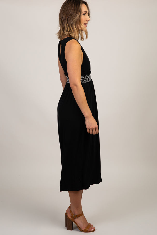 Black Smocked Accent Wide Leg Jumpsuit