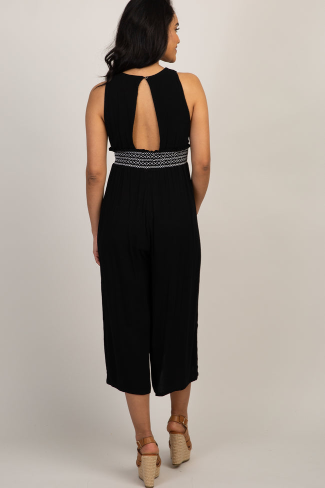 Black Smocked Accent Wide Leg Maternity Jumpsuit