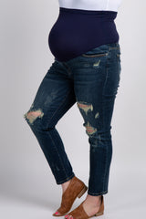 Navy Distressed Plus Maternity Jeans