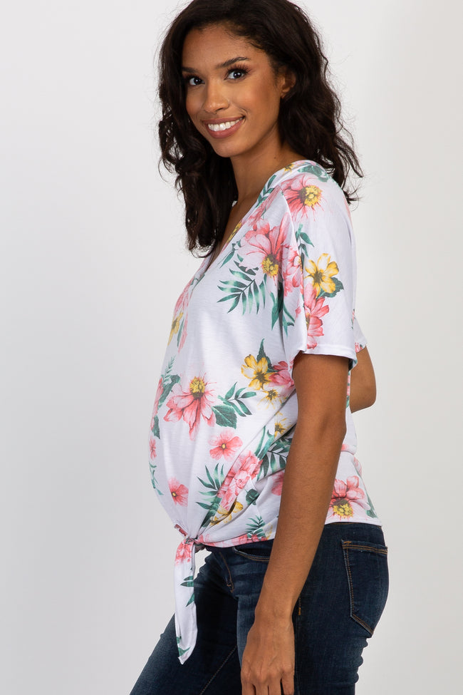 Ivory Floral Tie Front Dolman Maternity Top
