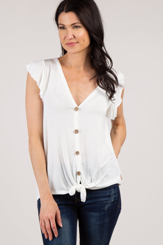 Ivory Solid Knot Front Ruffle Top