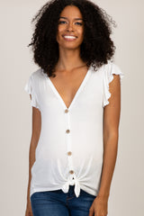 Ivory Solid Knot Front Ruffle Maternity Top