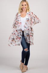 Cream Floral Dolman Maternity Cover Up