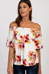 Ivory Floral Off Shoulder Ruffle Maternity Top