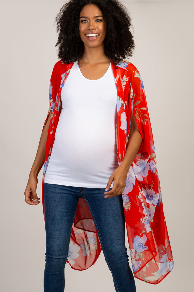Red Floral Chiffon Draped Maternity Cover Up