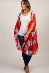 Red Floral Chiffon Draped Cover Up